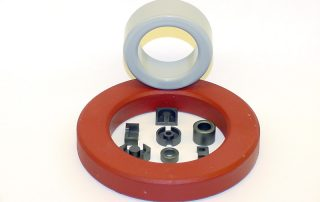 Electronic assembly, ferrite cores